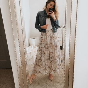 💗Xhilaration💗 Tiered Floral Maxi Skirt